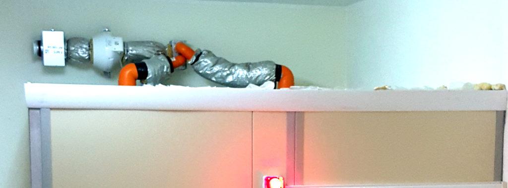 sistema di pompaggio aria e filtro HEPA